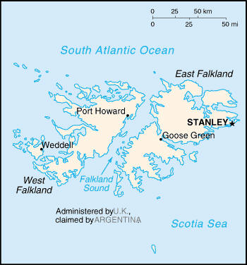 Country map of Falkland Islands (Islas Malvinas)